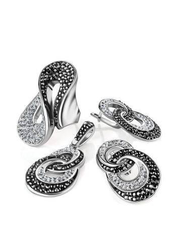 Изящное серебряное кольцо с двухцветными кристаллами Eclat, Размер кольца: 19, фото , изображение 5