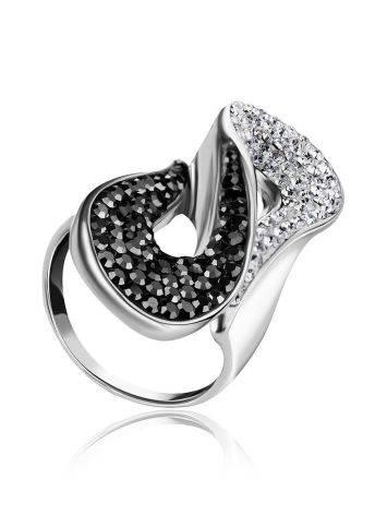 Изящное серебряное кольцо с двухцветными кристаллами Eclat, Размер кольца: 19, фото