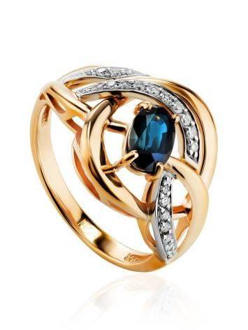 Объемное золотое кольцо с сапфиром и бриллиантами «Ундина», Размер кольца: 17, фото