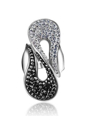 Изящное серебряное кольцо с двухцветными кристаллами Eclat, Размер кольца: 19, фото , изображение 4