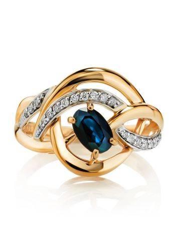 Объемное золотое кольцо с сапфиром и бриллиантами «Ундина», Размер кольца: 17, фото , изображение 3
