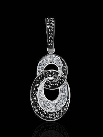 Серебряная подвеска с черными и белыми кристаллами Eclat, фото , изображение 2