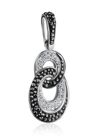 Серебряная подвеска с черными и белыми кристаллами Eclat, фото , изображение 4