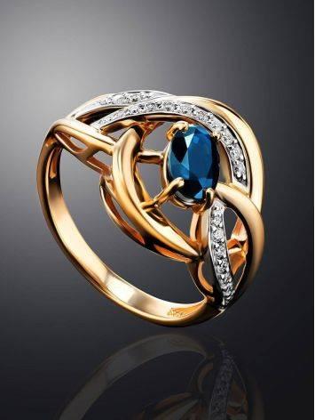 Объемное золотое кольцо с сапфиром и бриллиантами «Ундина», Размер кольца: 17, фото , изображение 2
