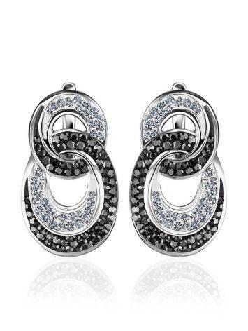 Серебряные серьги с двухцветными кристаллами Eclat, фото