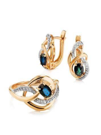 Объемное золотое кольцо с сапфиром и бриллиантами «Ундина», Размер кольца: 17, фото , изображение 4