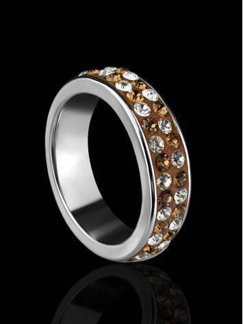 Серебряное кольцо с кремовыми кристаллами Eclat, Размер кольца: 15.5, фото , изображение 2