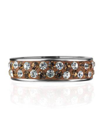 Серебряное кольцо с кремовыми кристаллами Eclat, Размер кольца: 15.5, фото , изображение 3