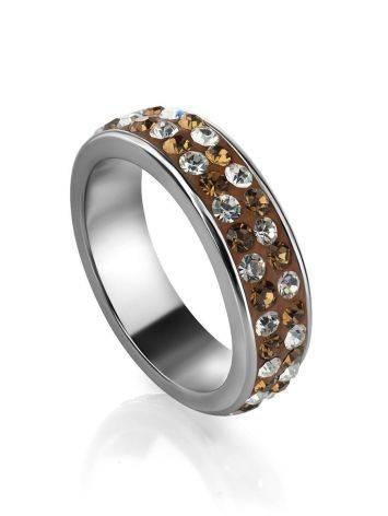 Серебряное кольцо с кремовыми кристаллами Eclat, Размер кольца: 15.5, фото