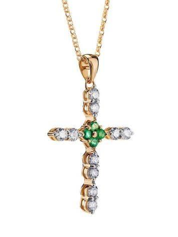 Золотое колье с подвеской-крестиком из бриллиантов и изумрудов, фото , изображение 3
