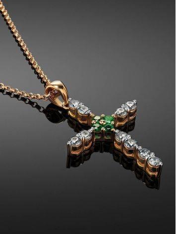 Золотое колье с подвеской-крестиком из бриллиантов и изумрудов, фото , изображение 2