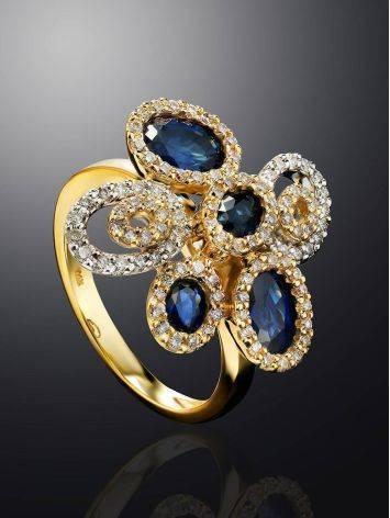 Золотое коктейльное кольцо в виде цветка с сапфирами и 104 бриллиантами «Ундина», Размер кольца: 17, фото , изображение 2