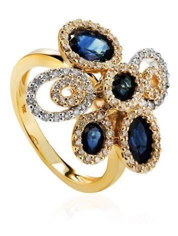 Золотое коктейльное кольцо в виде цветка с сапфирами и 104 бриллиантами «Ундина», Размер кольца: 17, фото