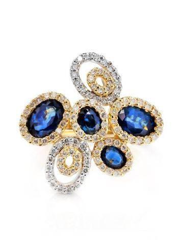 Золотое коктейльное кольцо в виде цветка с сапфирами и 104 бриллиантами «Ундина», Размер кольца: 17, фото , изображение 3