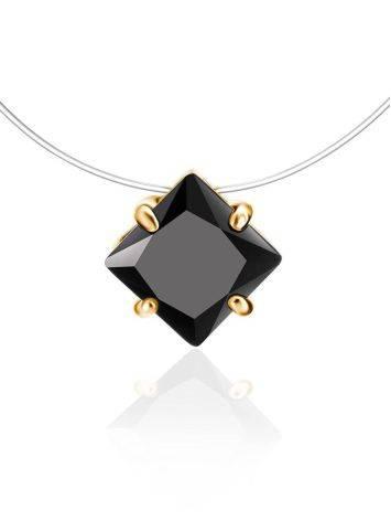 Колье на леске с черным квадратным кристаллом «Аврора», Длина: 40, фото