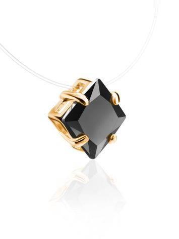 Колье на леске с черным квадратным кристаллом «Аврора», Длина: 40, фото , изображение 3