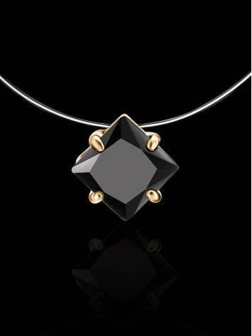 Колье на леске с черным квадратным кристаллом «Аврора», Длина: 40, фото , изображение 2