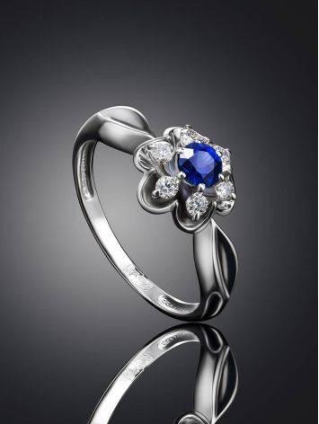 Нежное кольцо из белого золота с сапфиром и бриллиантами «Ундина», Размер кольца: 16.5, фото , изображение 2