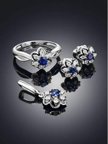 Нежное кольцо из белого золота с сапфиром и бриллиантами «Ундина», Размер кольца: 16.5, фото , изображение 3