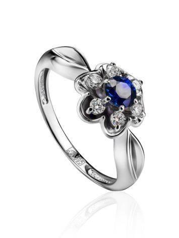 Нежное кольцо из белого золота с сапфиром и бриллиантами «Ундина», Размер кольца: 16.5, фото