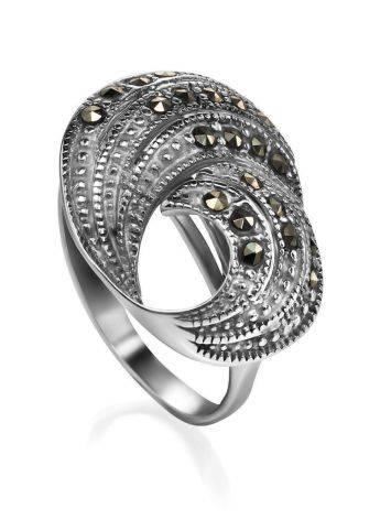 Нарядное серебряное кольцо с марказитами Lace, Размер кольца: 18.5, фото