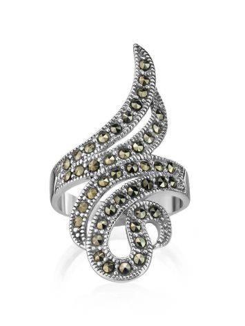 Объемное серебряное коктейльное кольцо с марказитами Lace, Размер кольца: 18, фото