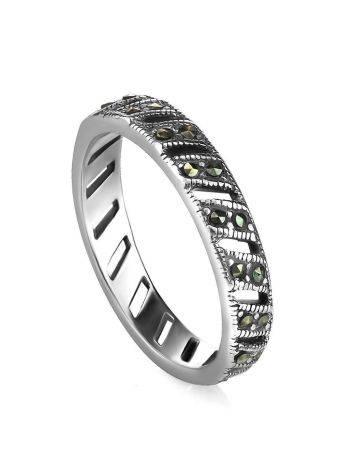 Тонкое серебряное кольцо с марказитами The Lace, Размер кольца: 17, фото