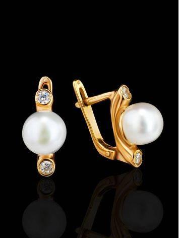 Элегантные позолоченные серьги с жемчугом и кристаллами, фото , изображение 2
