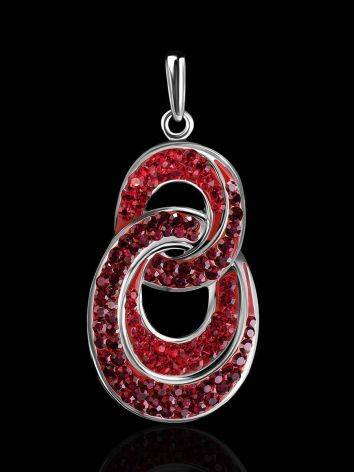 Серебряная подвеска с красными кристаллами Eclat, фото , изображение 2