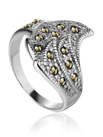 Эффектное серебряное кольцо в форме перышка с марказитами Lace, Размер кольца: 17, фото