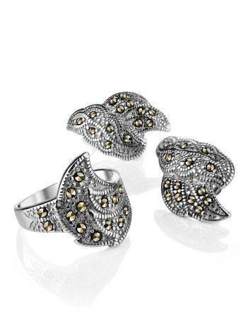 Нарядные серебряные серьги с марказитами Lace, фото , изображение 4