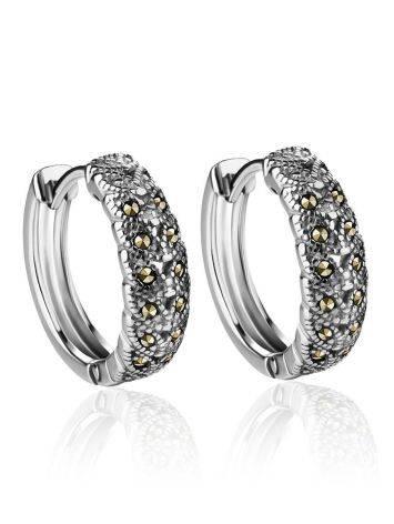 Объемные серебряные серьги-кольца с марказитами Lace, фото