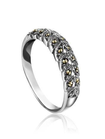 Аккуратное серебряное кольцо с марказитами Lace, Размер кольца: 18.5, фото