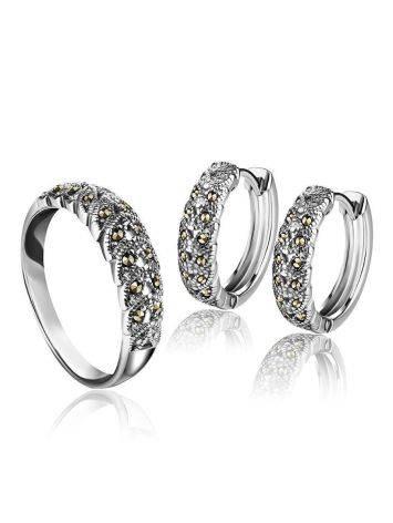 Объемные серебряные серьги-кольца с марказитами Lace, фото , изображение 3