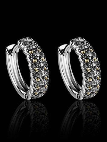 Объемные серебряные серьги-кольца с марказитами Lace, фото , изображение 2