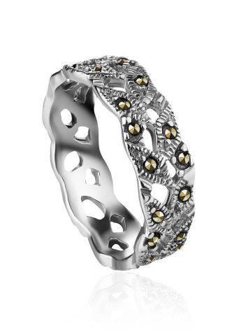 Изящное серебряное кольцо с марказитами Lace, Размер кольца: 16.5, фото