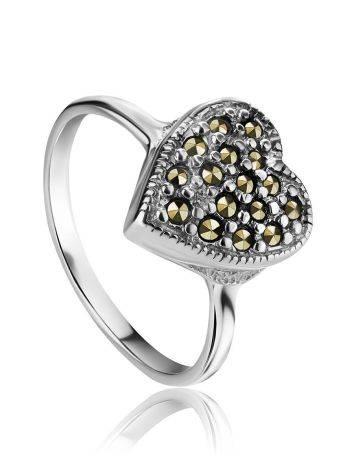 Нежное серебряное кольцо с марказитами Lace, Размер кольца: 17, фото