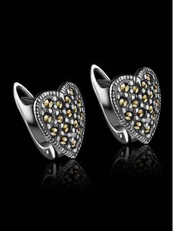 Серебряные серьги-сердечки с марказитами Lace, фото , изображение 2