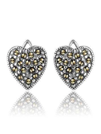 Серебряные серьги-сердечки с марказитами Lace, фото , изображение 3