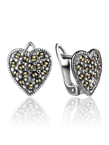 Серебряные серьги-сердечки с марказитами Lace, фото