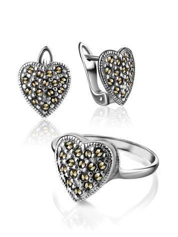 Серебряные серьги-сердечки с марказитами Lace, фото , изображение 4