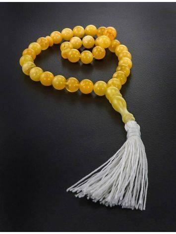 Чётки на 33 бусины из натурального янтаря медового цвета, фото , изображение 2