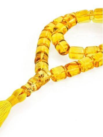 Сияющие чётки из натурального янтаря «Бочонки лимонные», фото