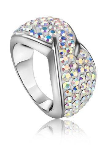 Эффектное серебряное кольцо с переливающимися кристаллами Eclat, Размер кольца: 15.5, фото