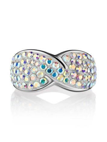 Эффектное серебряное кольцо с переливающимися кристаллами Eclat, Размер кольца: 15.5, фото , изображение 3
