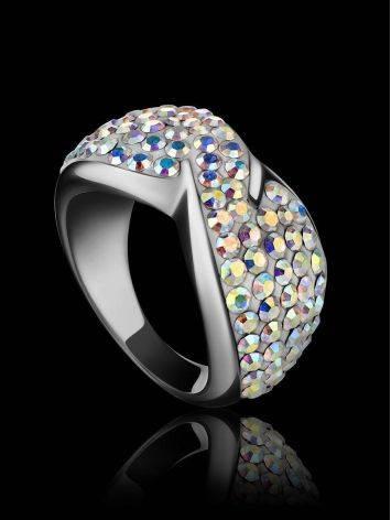 Эффектное серебряное кольцо с переливающимися кристаллами Eclat, Размер кольца: 15.5, фото , изображение 2