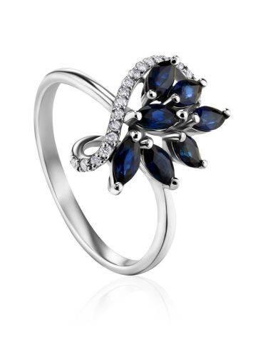 Изящное кольцо из белого золота с сапфирами и бриллиантами «Ундина», Размер кольца: 17, фото