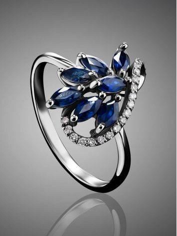Изящное кольцо из белого золота с сапфирами и бриллиантами «Ундина», Размер кольца: 17, фото , изображение 2