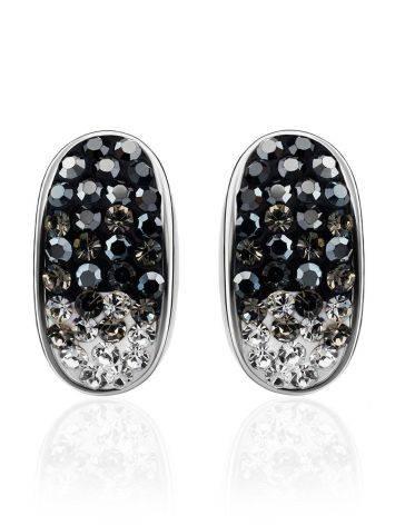 Серебряные серьги с двухцветными кристаллами Eclat, фото , изображение 3