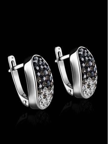 Серебряные серьги с двухцветными кристаллами Eclat, фото , изображение 2